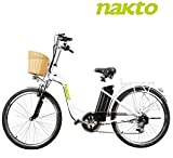 NAKTO 26'' Electric Bicycle Sporting 6-Speed Gear ebike with 250W Motor 36V 10AH Removable Lithium Battery,Lock and Charger