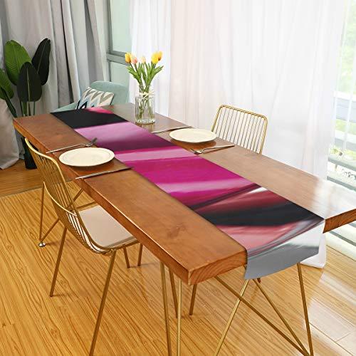 Hall Table Runner Fashion Lips Patch mit Lippenstift Küchentisch Runner Table Runner Quilt für...
