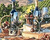 Pintar por Numeros para Adultos Niños Bricolaje Pintura al óleo Kit por Numeros sobre Lienzo Acrílica Pintar y Pinceles,Copa de vino vino tinto-smt4822