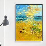 DRTWE pittura a olio su tela, extra large, 100% dipinto a mano su tela, tavolozza di coltello, struttura astratta oro marino, per soggiorno, camera da letto, ufficio, 80 x 120 cm