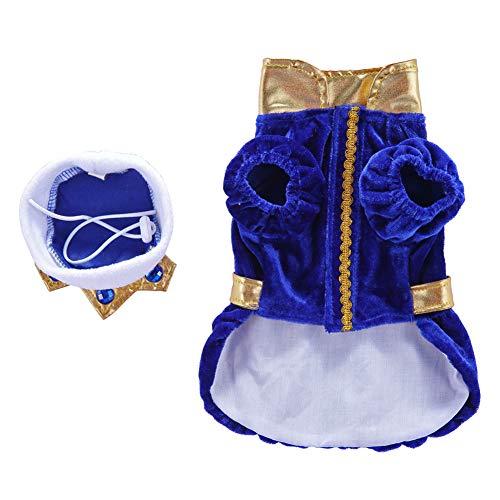 Sukisuki Hond Kerst Kostuum, Prins Warm Huisdier Sweater Jumper Jas Jas Kleding voor Winter Grote Kleine Honden Outfit, M, Blauw