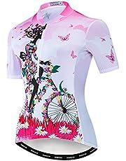 Weimostar Maillot de ciclismo para mujer con media cremallera y parte superior transpirable