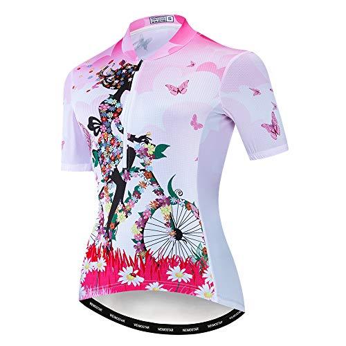 Weimostar Bike Trikot Damen Radtrikot Half Zipper MTB Tops Bekleidung Mountain Road Fahrradbekleidung atmungsaktiv Biker Racing Shirts für Damen Damen Fahrradbekleidung Sommer Pink XL