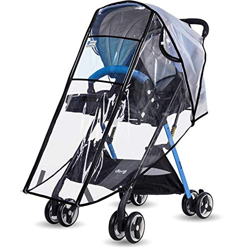 Siravic Stroller Cover, Clear EVA Stroller Rain Cover Universal Baby Travel Weather Shield Protects from Snow, Wind, Dust and Sun (Square Door, Medium)