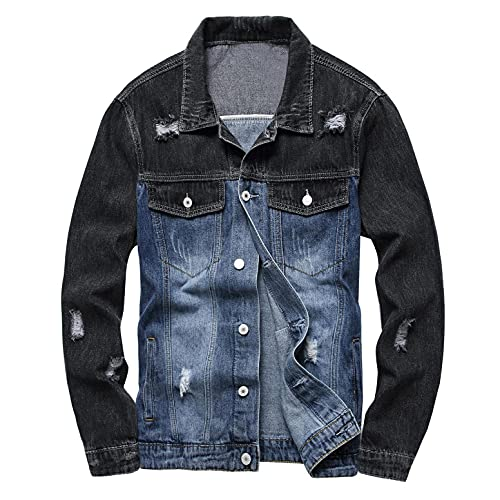 Stoota Mens 2021 Trucker Jacket, Jean Jacket for Men Slim Fit Jacket Coat, Classic Ripped Button Denim Jacket with Holes
