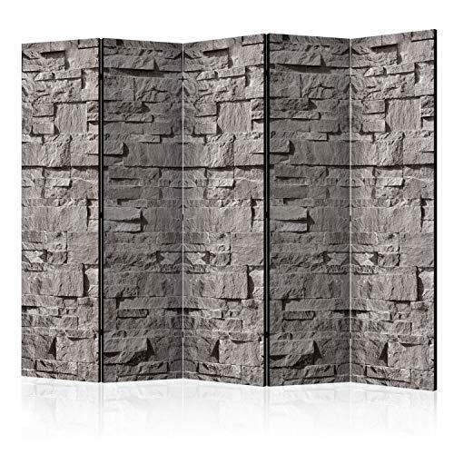 murando Raumteiler Foto Paravent Steinoptik 225x172 cm beidseitig auf Vlies-Leinwand Bedruckt Trennwand Spanische Wand Sichtschutz Raumtrenner Home Office grau f-C-0333-z-c