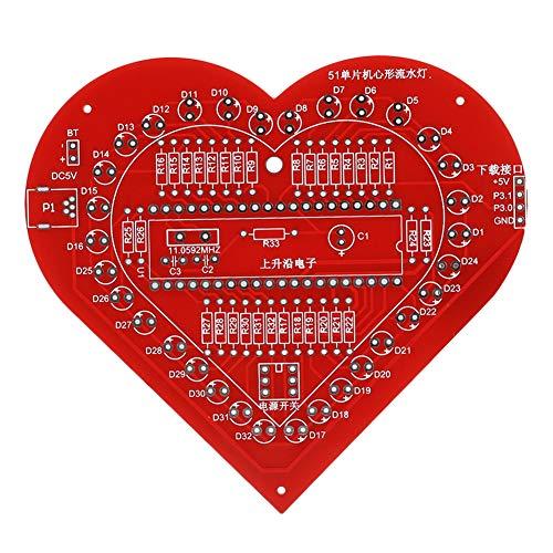 Estink Herzförmiges LED-DIY-Kit Herzförmiges Atemlicht-Kit, buntes MCU-Modul-Kit für elektronische Leiterplatten mit Einer Hülle für die Inneneinrichtung