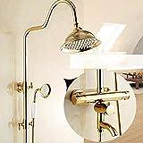 GYW-YW Grifos de Ducha Conjunto de Grifo de Ducha termostático Conjunto de Ducha de precipitaciones de baño con Mezclador Grifo montado en Pared asa Dual ast9507 (Color : Golden)