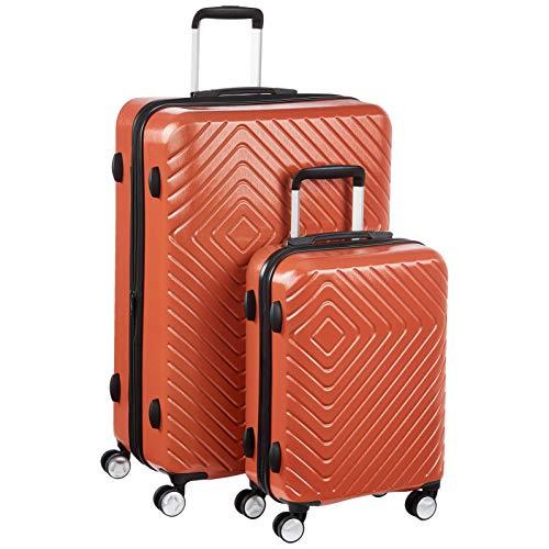 AmazonBasics - Trolley con motivo geometrico, Set da 2 pezzi (55 cm, 78 cm), Ruggine
