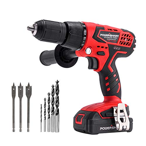 PowerSmart Cordless Drill Driver 45 NM Torque Impact Drill Driver 1/2#039#039 Keyless Chuck Builtin LED Drill Wall Brick Wood Metal Drill Driver 20V Drill LithiumIon Battery amp Charger PS76405A