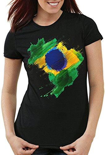 CottonCloud Flagge Brasilien Damen T-Shirt Fußball Sport Brazil WM EM Fahne, Farbe:Schwarz, Größe:M