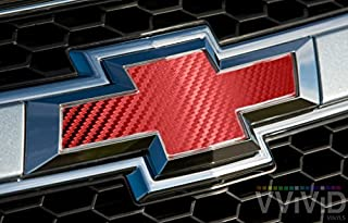 VVIVID Red Carbon Fibre Auto Emblem Vinyl Wrap Overlay Cut-Your-Own Decal For Chevy Bowtie Grill, Rear Logo Diy Easy To Install 11.80 Inches x 4 Inches Sheets (x2)