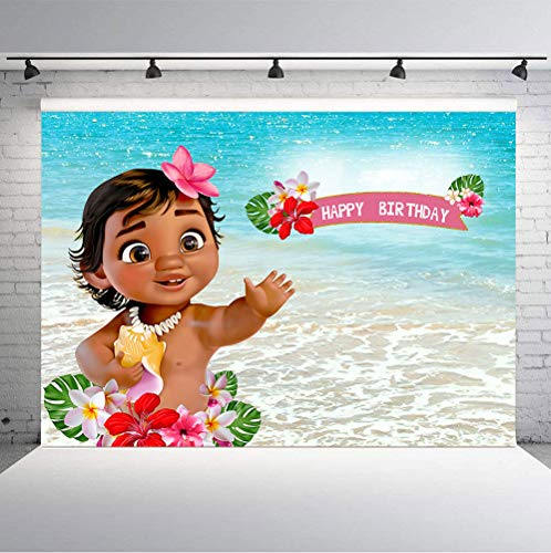 TJ 9X6FT Baby Moana Backdrop 1st Birthday Party Decor Banner Sea Blue Water Summer Photography Backdrop Baby Shower Moana Vinyl Background Table Decoration
