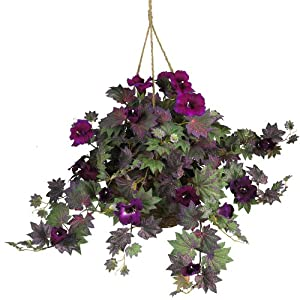 Nearly Natural 6610 24in. Morning Glory Hanging Basket Silk Plant,Purple