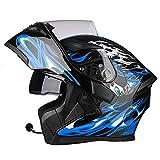 JIAND Bluetooth Helm Motorrad Full Face Klapphelm, Motorradhelm mit doppelter Linse (Schwarz Blau...