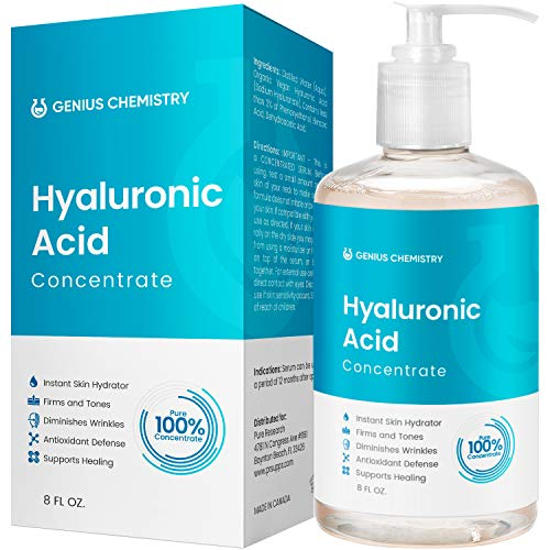 8OZ Hyaluronic Acid Serum by GENIUS, Pure Organic HA, Anti Aging, Anti Wrinkle, The Smart Face Moisturizer for Dry Skin and Fine Lines, Leaves Skin Full and Plump, Pump Bottle by Genius Chemistry