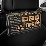 ATOZ BOX - Tips & Five Stars Rating Reminder Accessories Sign for Rideshare Driver (Uber & Lyft) Tips Appreciated Sign/Plastic Both Sides Printed (Luxury Type)