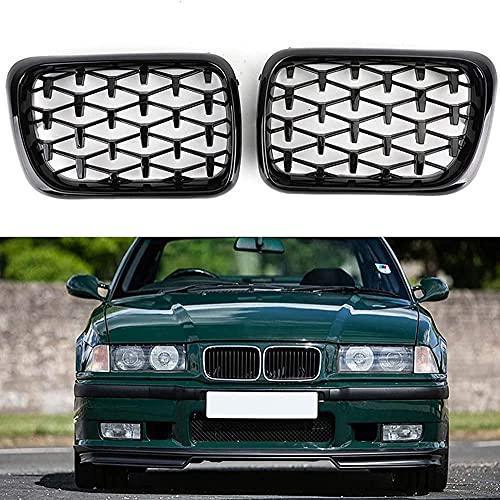 Coche Rejillas frontales de radiador para BMW E36 3 Series M3 1997 1998 1999, arrilla de Delantera Malla Rejilla de Repuesto Grille Grill