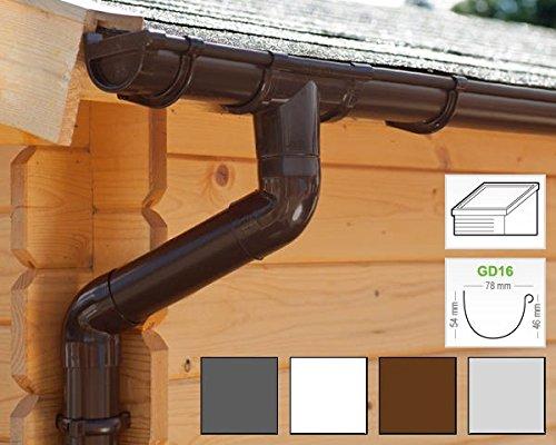 Dachrinnen/Regenrinnen Set | Pultdach (1 Dachseite) | GD16 | in 4 Farben! (Komplettes Set bis 3.50...
