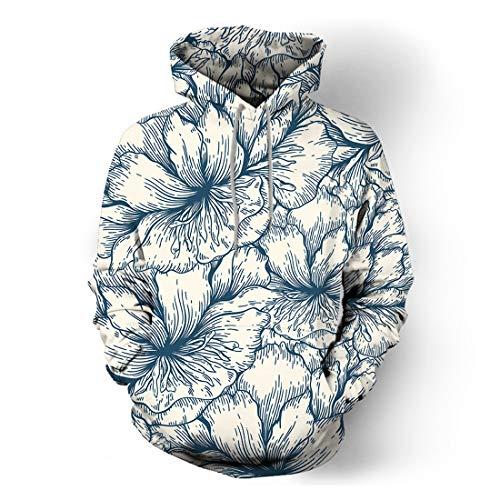 Sweatshirt Herren Hoodie Herren Sport Casual Kordelzug Langarm Frühling Und Herbst Modetrend Streetwear 17D-Druck Boutique Neue Herren Tops C-Blue XL