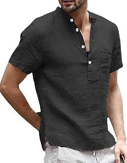 Enjoybuy Mens Linen Henley Shirts Short Sleeve Casual Summer T Shirt Banded Collar Beach Tops