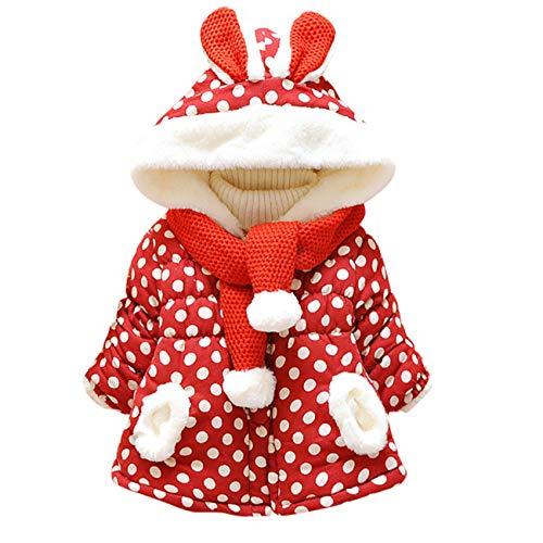 HCFKJ Ropa Bebe NiñA Invierno NiñO Manga Larga Camisetas BEB Conjuntos Moda Lindos Orejas De Conejo Encapuchado Lunares Invierno Abrigo Chaquetas Ropa Exterior (0-6 Meses, Rojo)