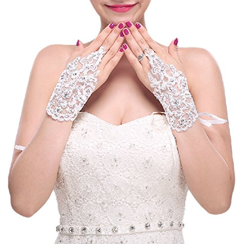 Style coréen gants de mariée en paillettes de dentelle blanche Shot gants sans doigts de la mariée