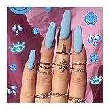 DrecodeDrecode - Juego de 24 uñas postizas de acrílico con cierre de clip para mujeres y niñas, Talla única, Azul, 1.00[set de ]