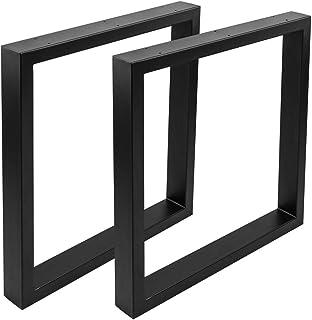 comprar comparacion PrimeMatik - Pies rectangulares para Mesa Patas en Acero Negro 680 x 80 x 710 mm 2-Pack