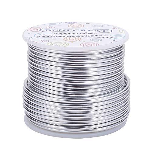 BENECREAT 24.5m 2.5mm Alambre de Aluminio Hilo Metálico para Fabricación de Artesanías Rebordeado Alambre de Manualidad de Aluminio Calibre 10 Palta