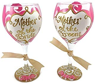 SET OF 2 Hand Painted Mother of the Bride and Mother of the Groom Personalized Wine Glass Wedding Hot Pink and Gold