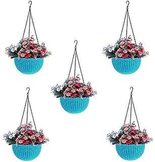 Round Gamla Pot Flower Hanging Round Rattan Woven Plastic Flower Hanging Basket Beautiful Pot for Garden Balcony (5 Pcs, S...