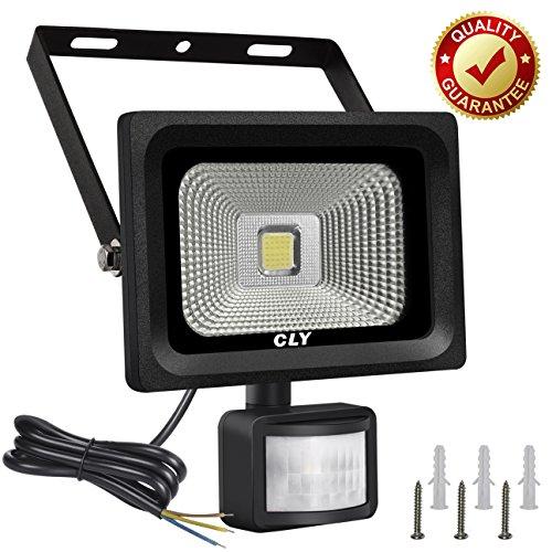 Foco con Sensor de Movimiento CLY 10W Foco led Exterior con Sensor Movimiento 900LM 6000K Impermeable IP66 para Iluminación de Exterior y Seguridad