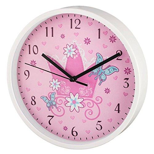 """Hama Kinder Wanduhr ohne Ticken """"Krone"""" (analoge Uhr, großes Ziffernblatt mit Ø 22,5 cm, geräuscharm, mit Prinzessinnen-Motiv, z.B. für's Kinderzimmer) Kinderwanduhr rosa"""