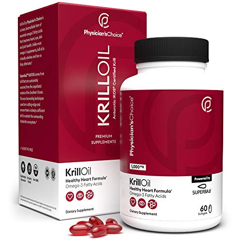 Antarctic Krill Oil - 1000 mg (Double Strength) Sustainably Sourced with 100% Traceability, Superba2 Krill Omega 3 with Astaxanthin, Cardiovascular Health and Memory, No Fishy Aftertaste, 60 Softgels