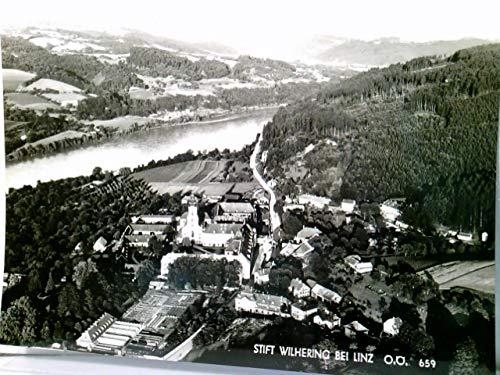 Stift Wilhering bei Linz / Oberösterreich. Alte AK s/w. Fliegeraufnahme, Luftbild, Ortsansicht mit Abtei, Donau, Panoramablick, mit Abteistempel