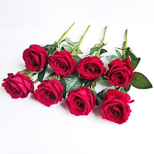 Flores Artificiales Decorativas 8 Piezas de Flores Artificiales de Seda Rosa de Tacto Real Flores de Imitación Rosas Ramo para Decoración de Boda Hogar Jardín