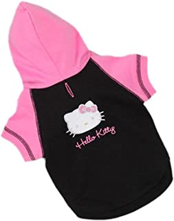 Hello Kitty Screen Printed Dog Pet Hoodie Black Large