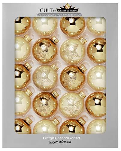 Heitmann Deco Krebs & Sohn Set di 20 Palline di Natale in Vetro - Albero di Natale Deco Appeso - Palle di Natale 5,7 cm - Oro Avorio