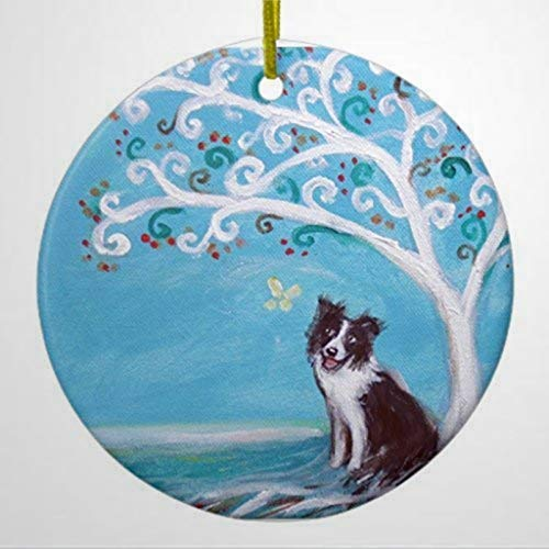 BYRON HOYLE Keepsake Christmas Hanging Ornament Border Collie Tree of Life Ceramic Ornament Circle Christmas Ornaments Pandemic Xmas Decor Holiday present