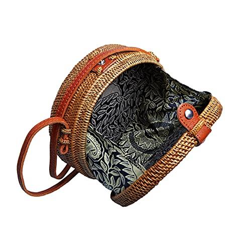 Art deco network Echte Balinesische Rattan-Tasche, handgefertigt, Vintage, Schulterriemen Bohemian Chic