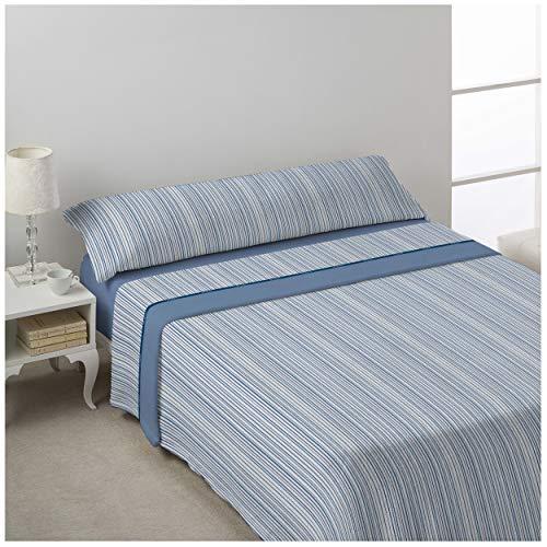 DON ALGODÓN Juego de sabanas Invierno CORALINA MILU Azul Cama de 180 x 190/200. Azul