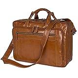E-Bestar elegante leggera e funzionale Grande ventiquattrore borsa da lavoro in vera pelle borsa a spalla / a mano Borsa in Pelle doppio manico Porta 17.3' Laptop PC