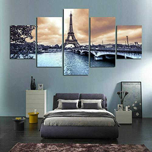 MLDN 5 Cuadros de Lienzo, Cuadros de decoración de Paredes, Cuadros de impresiónTorre Eiffel Paris Sunset lienzos Decorativos para Decorar la Sala de Estar o el Dormitorio