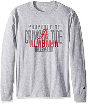 Champion NCAA Men s Long Sleeve Lightweight T-shirt Officially Licensed 100% Cotton Tagless Tee Alabama Crimson Tide Small