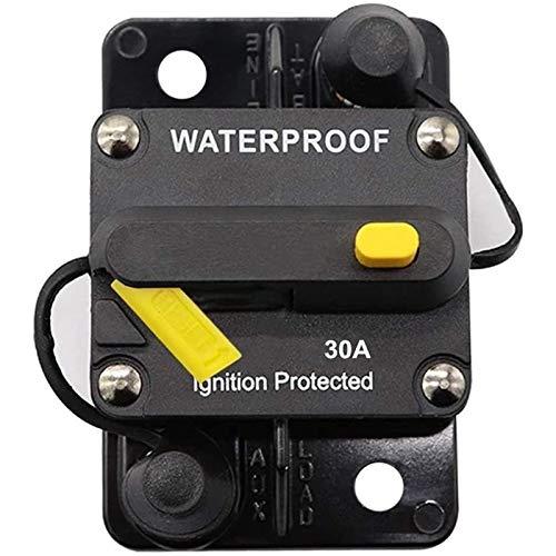 GEEKEN Disyuntor de 30 Amperios, 12 V- 48 V CC, Reinicio Manual para ProteccióN del Sistema de VehíCulos de Barco Marino con Motor de Arrastre RV (30A)