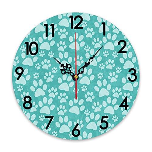 GEEVOSUN Reloj de Pared Redondo, silencioso, sin tictac, Reloj Verde Azulado con Estampado de Pata de Perro, repetición de patrón de Azulejos, decoración del hogar para Sala de Estar, Cocina, dormito