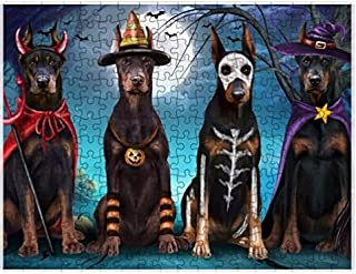 Happy Halloween Trick or Treat Doberman Pinschers Dog in Costumes Puzzle with Photo Tin (500 pc. 14
