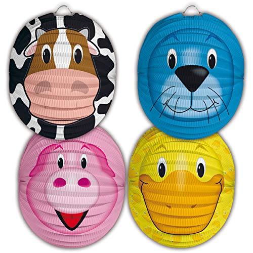 cama24com Laternen Kinder Set Kuh Schwein Robbe Ente 4 Stück Laternenumzug mit Palandi® Sticker