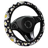 YOGURTCK Cute Soft Daisy Flowers Steering Wheel Cover for Women Girls, Universal 15 Inch, Fit Vehicles, Sedans, SUVS, Vans, Trucks - Daisy